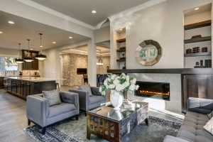 Salas de estar modernas con chimenea