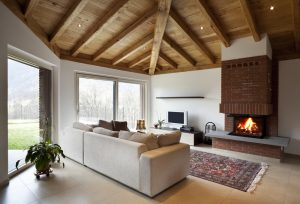 Salas modernas con chimenea