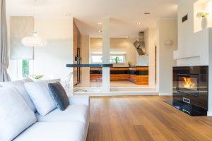 diseño de salas modernas con chimenea