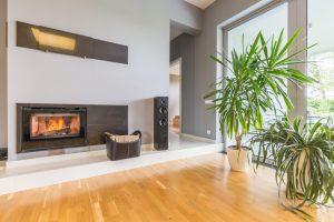 diseño de salas con chimenea