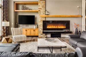 imagenes de salas modernas con chimenea