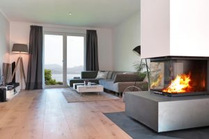 salas estilo moderno con chimenea
