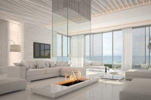 salas minimalistas con chimenea